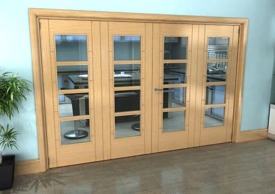 Iseo Oak 4 Light Clear 4 Door Roomfold Grande (2 + 2 x 762mm Doors)