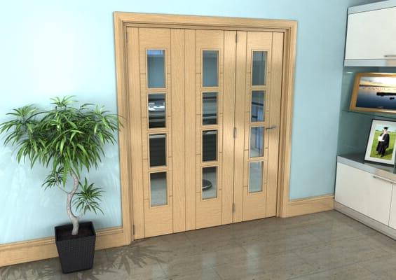 Iseo Oak 4 Light Clear 3 Door Roomfold Grande (3 + 0 x 533mm Doors)
