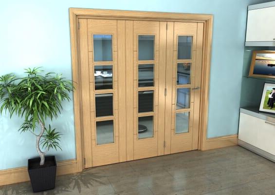 Iseo Oak 4 Light Clear 3 Door Roomfold Grande (3 + 0 x 610mm Doors)