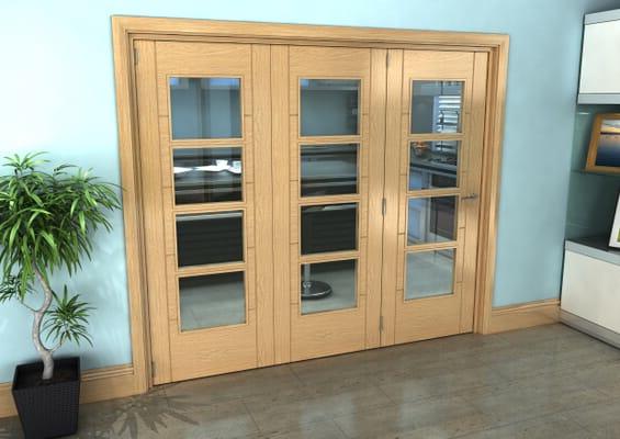 Iseo Oak 4 Light Clear 3 Door Roomfold Grande (3 + 0 x 762mm Doors)