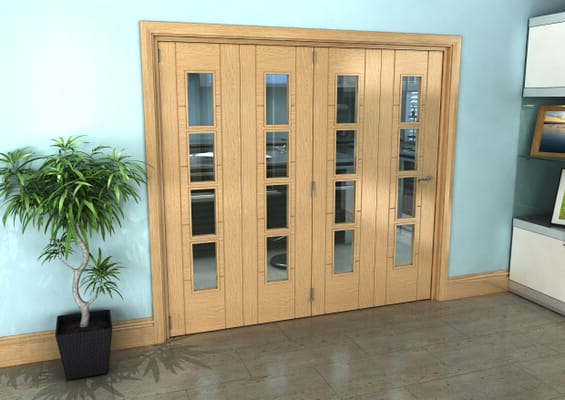 Iseo Oak 4 Light Clear 4 Door Roomfold Grande (4 + 0 x 533mm Doors)