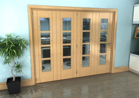 Iseo Oak 4 Light Clear 4 Door Roomfold Grande (4 + 0 x 610mm Doors)