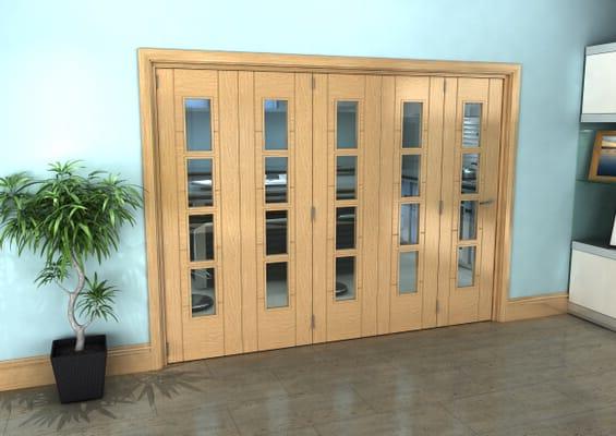 Iseo Oak 4 Light Clear 5 Door Roomfold Grande (5 + 0 x 533mm Doors)