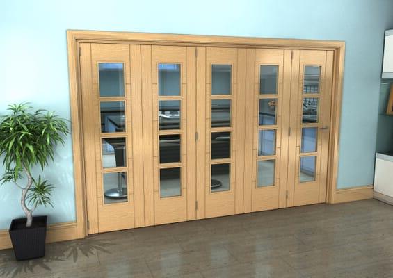 Iseo Oak 4 Light Clear 5 Door Roomfold Grande (5 + 0 x 610mm Doors)