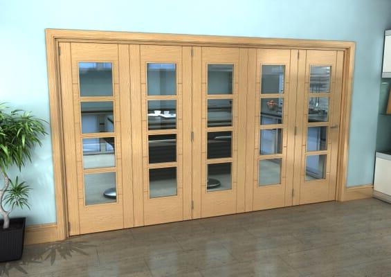 Iseo Oak 4 Light Clear 5 Door Roomfold Grande (5 + 0 x 686mm Doors)