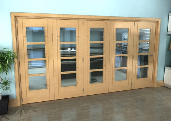 Iseo Oak 4 Light Clear 5 Door Roomfold Grande (5 + 0 x 762mm Doors)