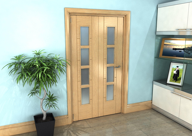 Oak Iseo Roomfold Grande - 4 Light Frosted Prefinished Image