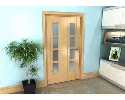 Oak Iseo Roomfold Grande - 4 Light Frosted Prefinished Internal Bifold Doors