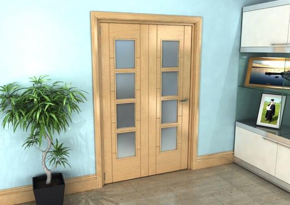 Iseo Oak 4 Light Frosted 2 Door Roomfold Grande (2 + 0 x 610mm Doors)