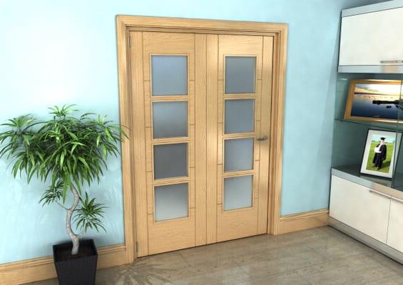 Iseo Oak 4 Light Frosted 2 Door Roomfold Grande (2 + 0 x 686mm Doors)