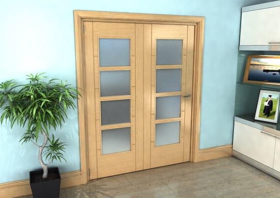 Iseo Oak 4 Light Frosted 2 Door Roomfold Grande (2 + 0 x 762mm Doors)