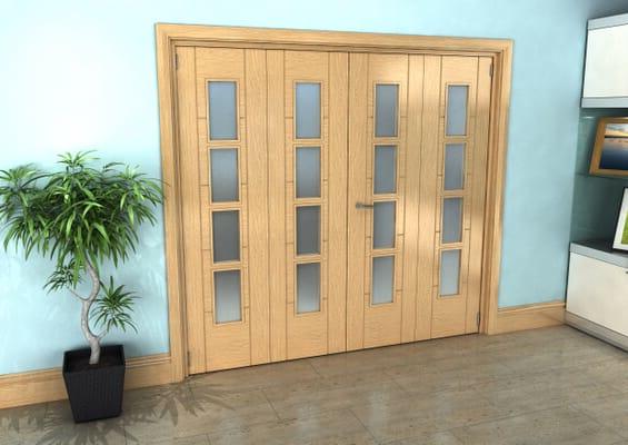 Iseo Oak 4 Light Frosted 4 Door Roomfold Grande (2 + 2 x 533mm Doors)