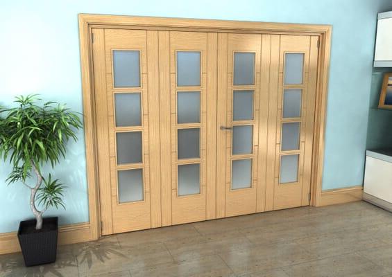 Iseo Oak 4 Light Frosted 4 Door Roomfold Grande (2 + 2 x 610mm Doors)
