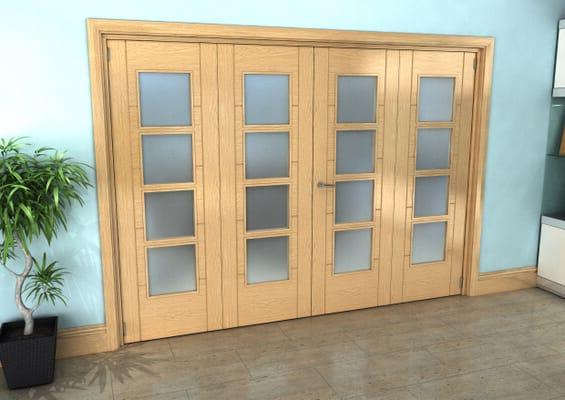 Iseo Oak 4 Light Frosted 4 Door Roomfold Grande (2 + 2 x 686mm Doors)