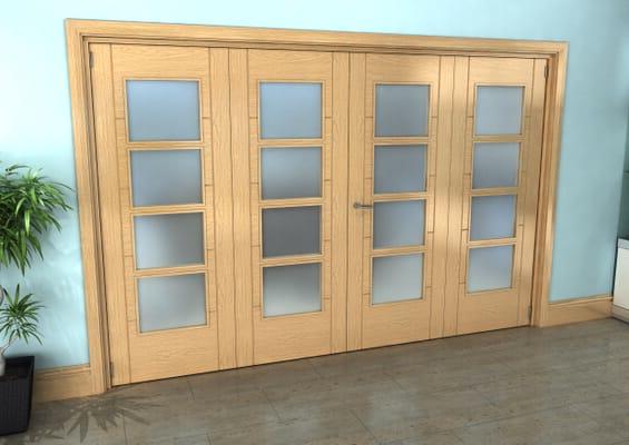 Iseo Oak 4 Light Frosted 4 Door Roomfold Grande (2 + 2 x 762mm Doors)