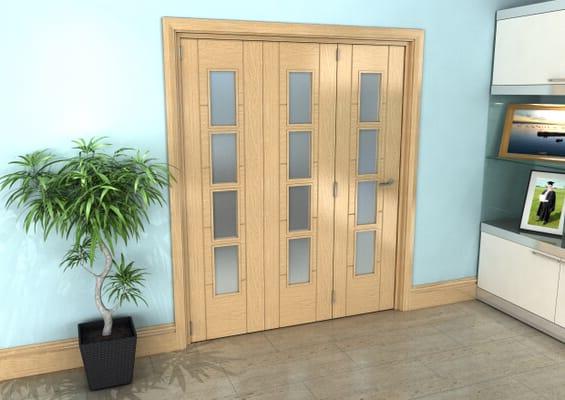 Iseo Oak 4 Light Frosted 3 Door Roomfold Grande (3 + 0 x 533mm Doors)