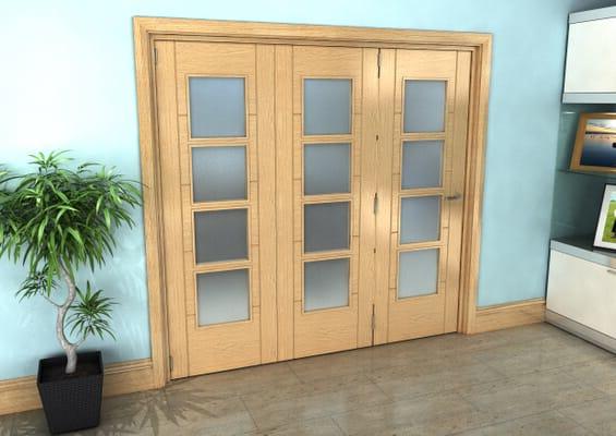 Iseo Oak 4 Light Frosted 3 Door Roomfold Grande (3 + 0 x 686mm Doors)