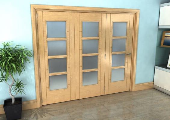 Iseo Oak 4 Light Frosted 3 Door Roomfold Grande (3 + 0 x 762mm Doors)