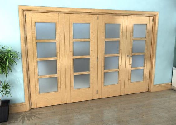 Iseo Oak 4 Light Frosted 4 Door Roomfold Grande (3 + 1 x 762mm Doors)