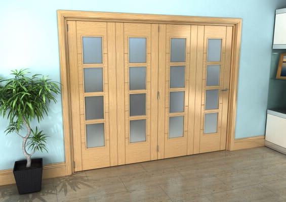 Iseo Oak 4 Light Frosted 4 Door Roomfold Grande (4 + 0 x 610mm Doors)