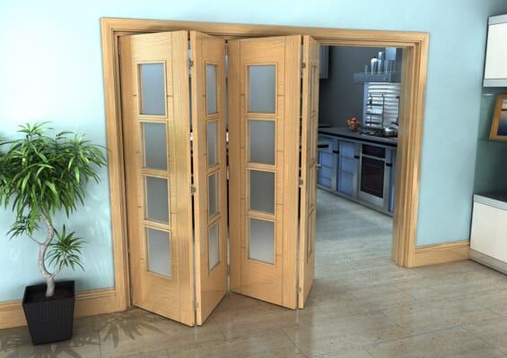 Iseo Oak 4 Light Frosted 4 Door Roomfold Grande (4 + 0 x 686mm Doors)