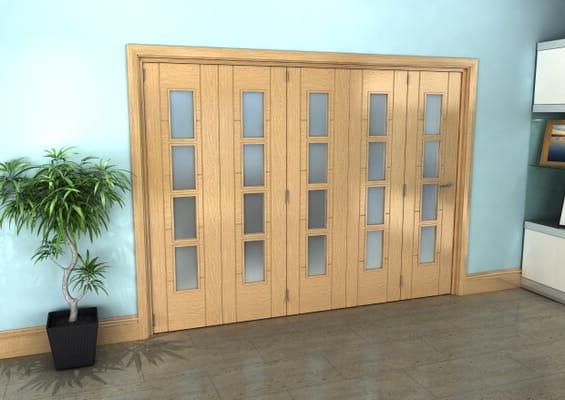 Iseo Oak 4 Light Frosted 5 Door Roomfold Grande (5 + 0 x 533mm Doors)