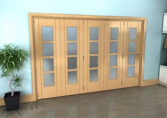 Iseo Oak 4 Light Frosted 5 Door Roomfold Grande (5 + 0 x 610mm Doors)