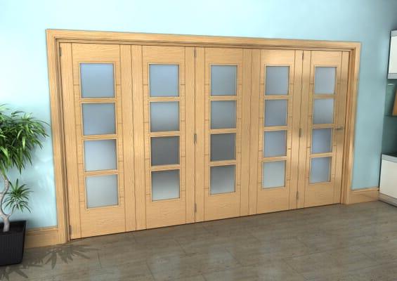 Iseo Oak 4 Light Frosted 5 Door Roomfold Grande (5 + 0 x 686mm Doors)