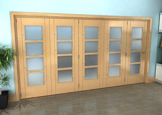 Iseo Oak 4 Light Frosted 5 Door Roomfold Grande (5 + 0 x 762mm Doors)