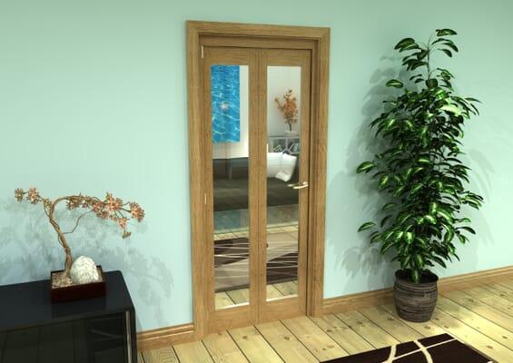 Glazed Oak Prefinished 2 Door Roomfold Grande (2 + 0 x 381mm Doors)