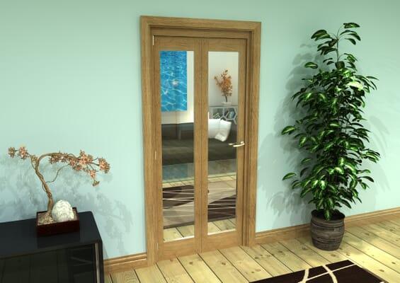 Glazed Oak Prefinished 2 Door Roomfold Grande (2 + 0 x 419mm Doors)