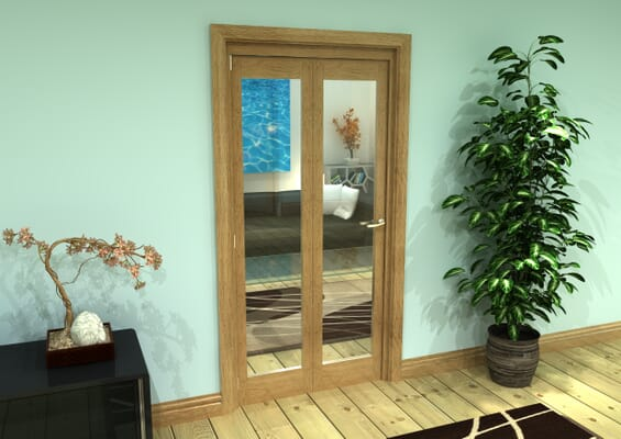 Glazed Oak Prefinished 2 Door Roomfold Grande (2 + 0 x 457mm Doors)