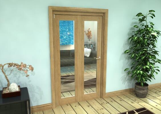Glazed Oak Prefinished 2 Door Roomfold Grande (2 + 0 x 533mm Doors)