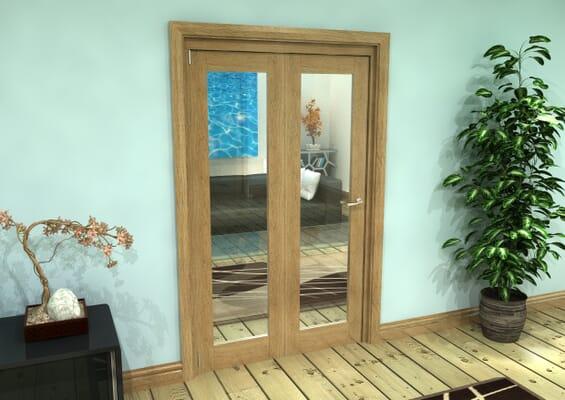 Glazed Oak Prefinished 2 Door Roomfold Grande (2 + 0 x 573mm Doors)