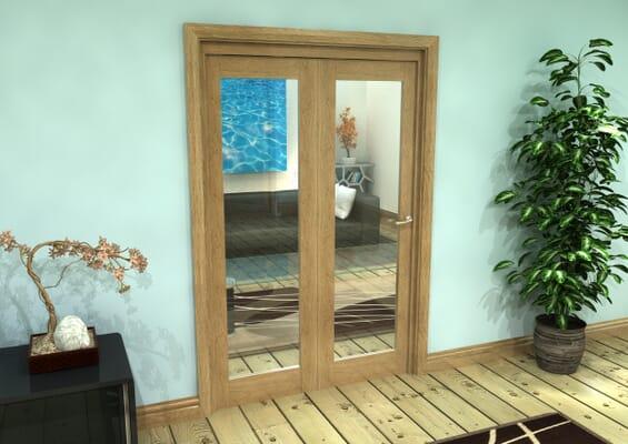 Glazed Oak Prefinished 2 Door Roomfold Grande (2 + 0 x 610mm Doors)