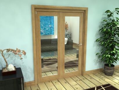 Oak Glazed Roomfold Grande - Clear Prefinished Image