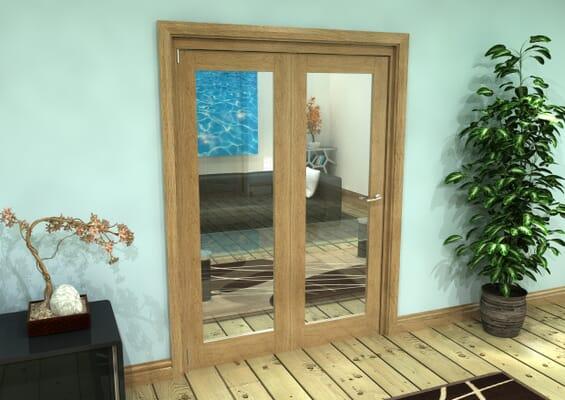 Glazed Oak Prefinished 2 Door Roomfold Grande (2 + 0 x 686mm Doors)