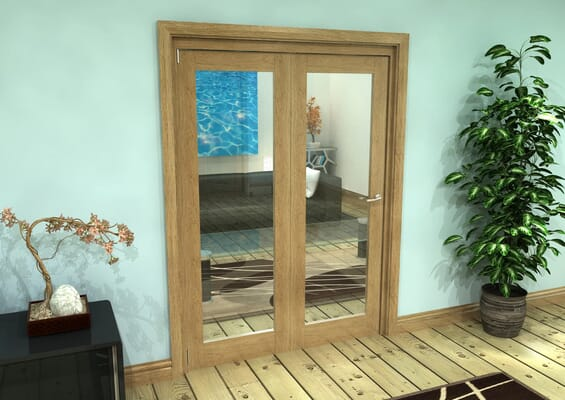 Glazed Oak Prefinished 2 Door Roomfold Grande (2 + 0 x 762mm Doors)