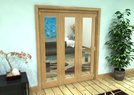 Glazed Oak Prefinished 3 Door Roomfold Grande (2 + 1 x 533mm Doors)