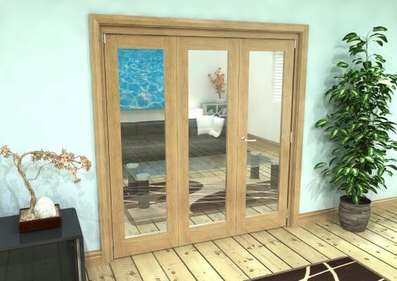 Glazed Oak Prefinished 3 Door Roomfold Grande (2 + 1 x 610mm Doors)
