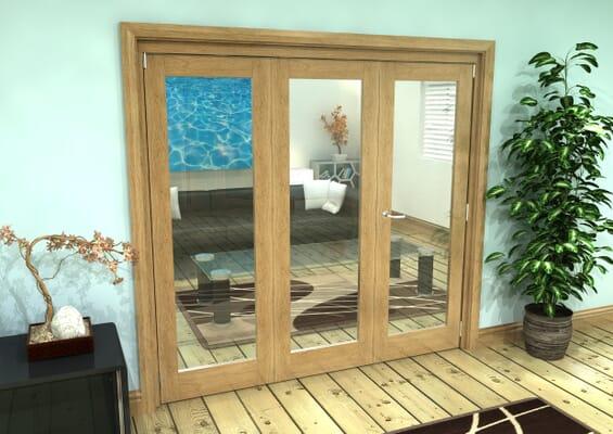 Glazed Oak Prefinished 3 Door Roomfold Grande (2 + 1 x 686mm Doors)
