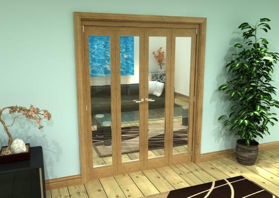 Glazed Oak Prefinished 4 Door Roomfold Grande (2 + 2 x 381mm Doors)