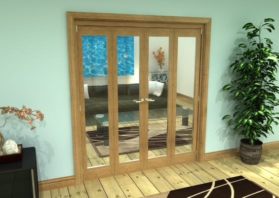 Glazed Oak Prefinished 4 Door Roomfold Grande (2 + 2 x 419mm Doors)