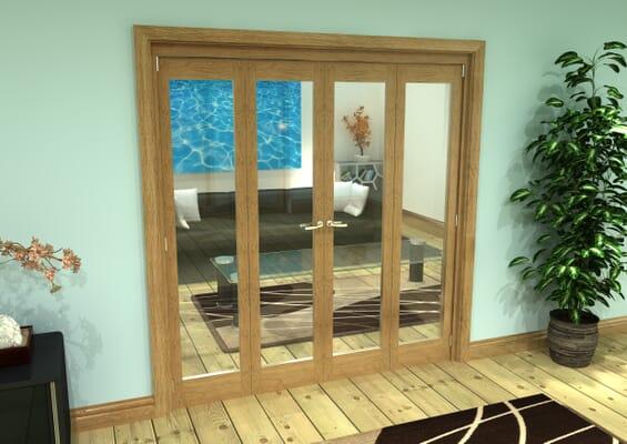 Glazed Oak Prefinished 4 Door Roomfold Grande (2 + 2 x 457mm Doors)