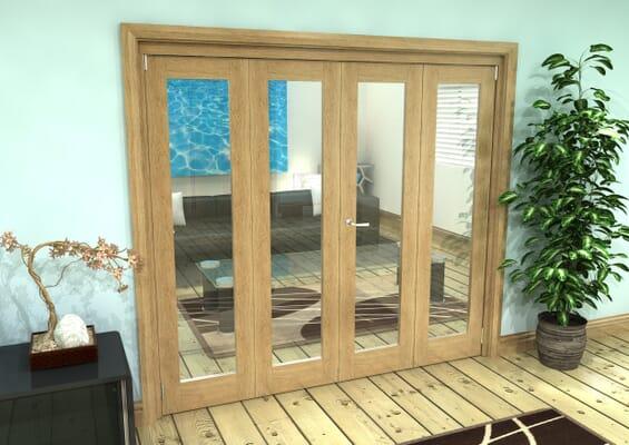 Glazed Oak Prefinished 4 Door Roomfold Grande 2400mm 2 + 2 Set