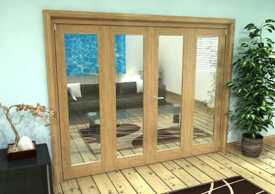 Glazed Oak Prefinished 4 Door Roomfold Grande (2 + 2 x 610mm Doors)