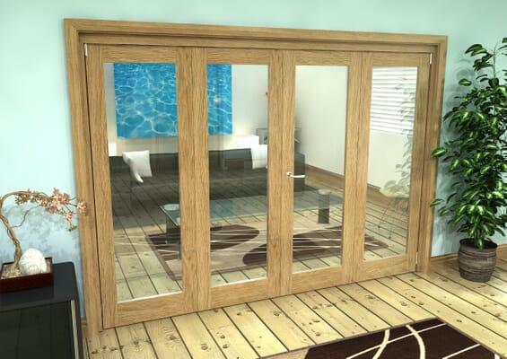 Glazed Oak Prefinished 4 Door Roomfold Grande (2 + 2 x 686mm Doors)
