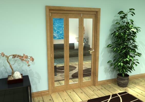 Glazed Oak Prefinished 3 Door Roomfold Grande (3 + 0 x 381mm Doors)