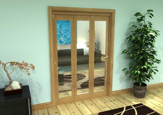 Glazed Oak Prefinished 3 Door Roomfold Grande (3 + 0 x 419mm Doors)