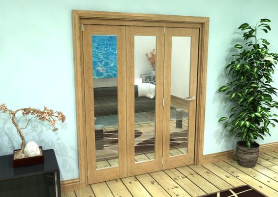 Glazed Oak Prefinished 3 Door Roomfold Grande (3 + 0 x 533mm Doors)